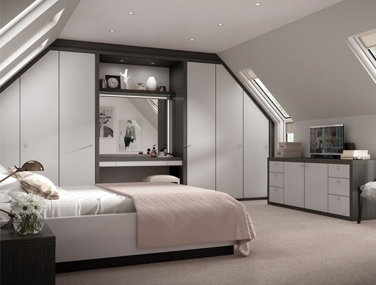 Contemporary bedroom with matt grey fitted furniture and storage