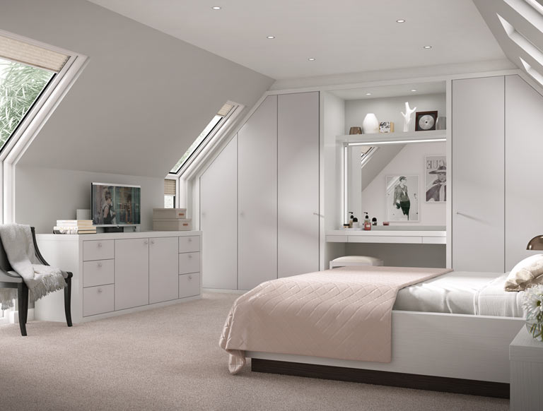 Matt grey bedroom configuration