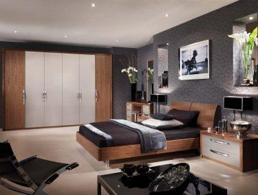 Milano bedroom in Cashmere & American Black Walnut