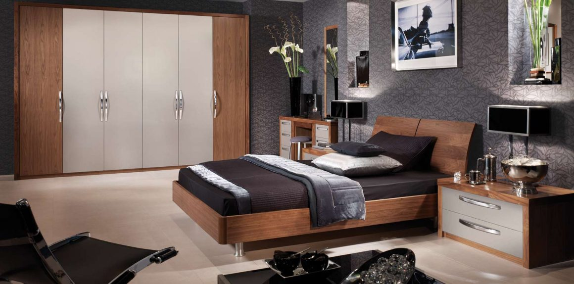 Milano bedroom in Cashmere & American Black Walnut
