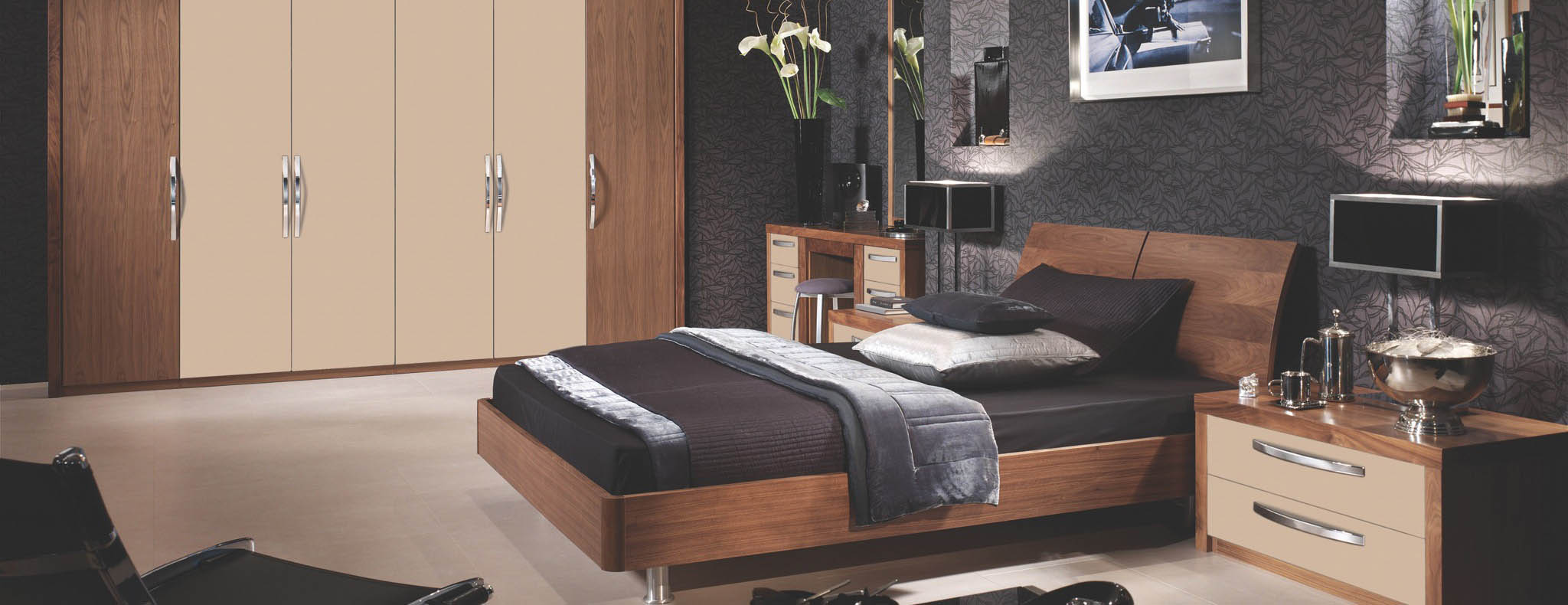 Milano cappuccino american walnut fitted bedroom for American black walnut bedroom furniture