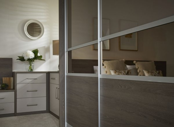 Mirrored sliding wardrobe panel