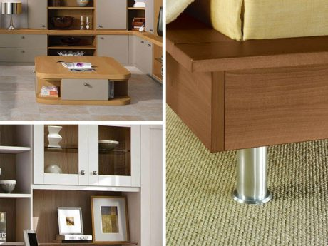 Modernist style furniture incorporating clean lines and simple handles