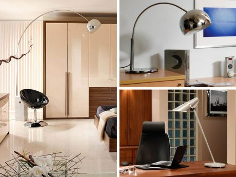 Modernist lighting including angle poise lamps and large windows