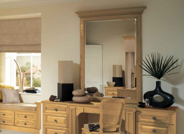 Full length mirror with natural oak framing