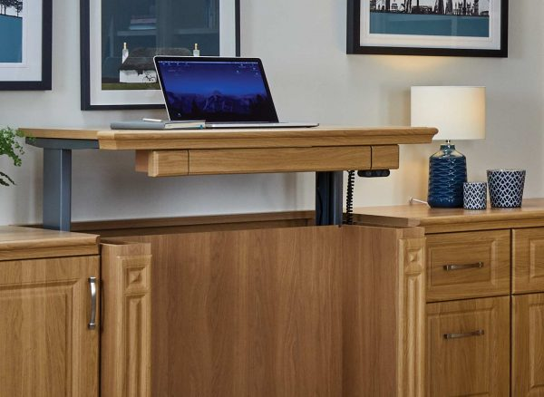 Height adjustable wood desk
