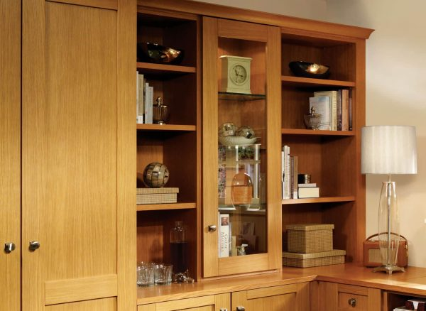 Bespoke cabinets with glass fronted shelving