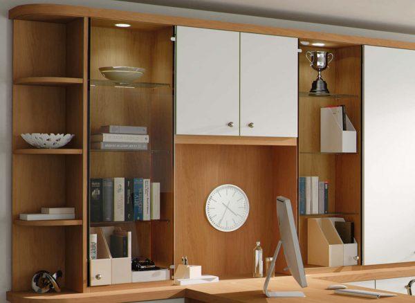 LED down lighting on glass shelves