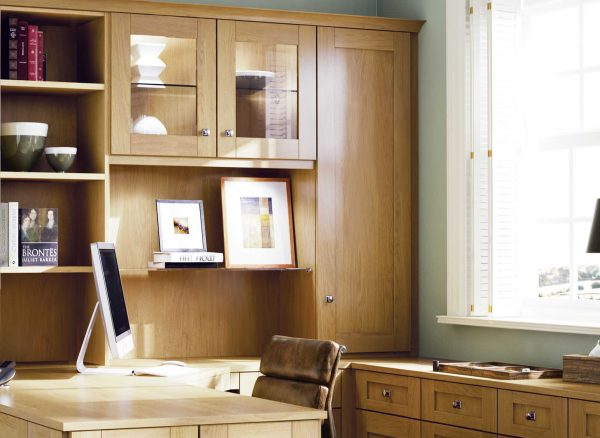 Fitted office cabinets in English Oak
