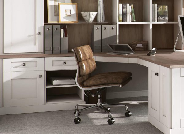 Home Office bookshelves and appliance compartments