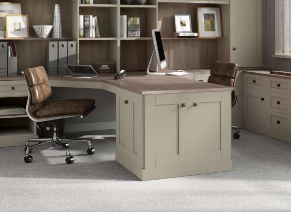 Two person peninsular desk