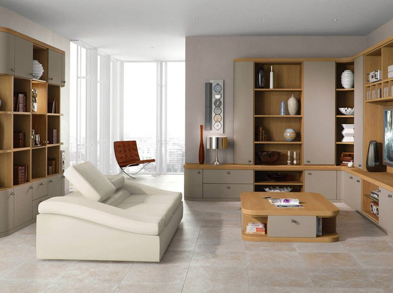 Optima Lounge in Truffle and Natural Oak