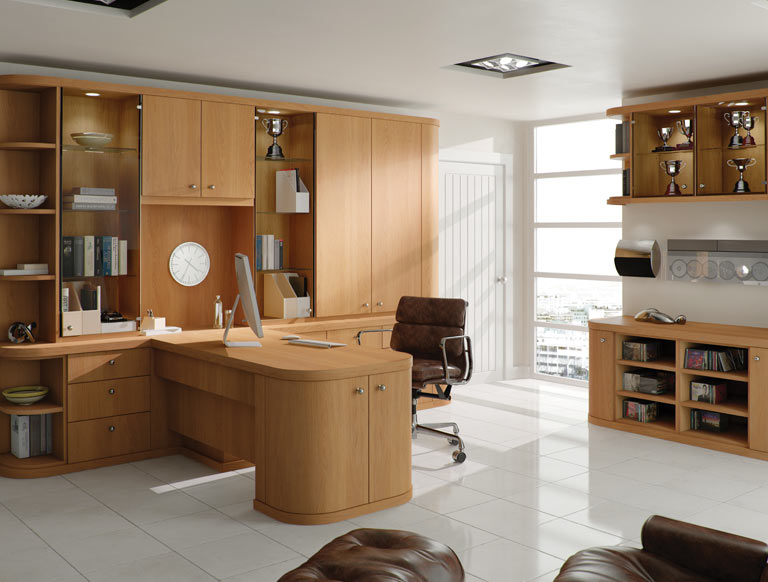 Fitted Home Office In Natural Oak