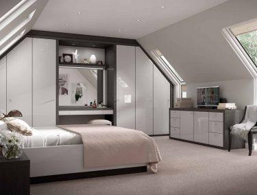 Striking grey and black bedroom furniture