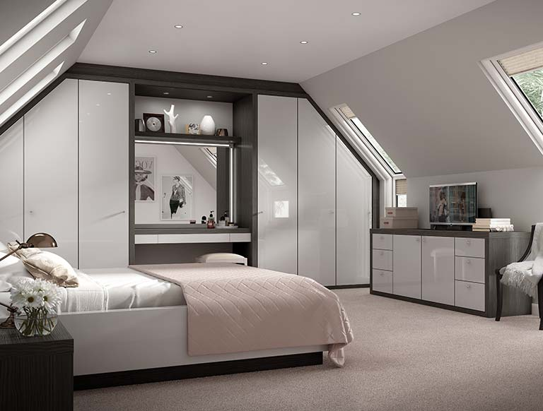Striking grey and black bedroom furniture