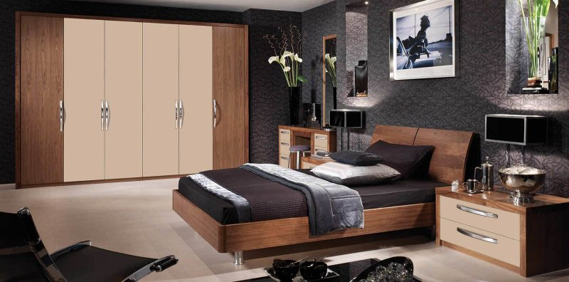 Milano fitted bedroom in cappuccino and black walnut