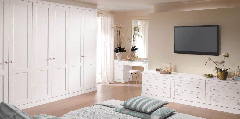 Bespoke bedroom furniture in pure white