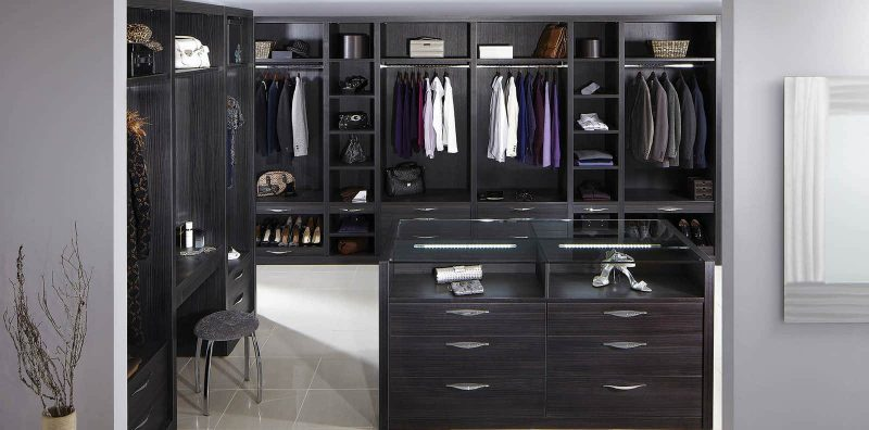 Nice Fitted Dressing Room In Dark Wood