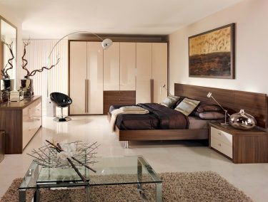 Capri fitted bedroom in High Gloss Cream and Dijon walnut