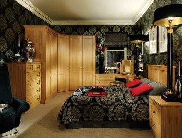 Fitted bedroom furniture in natural oak
