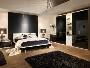 Portofino fitted bedroom in Gloss Black and Alabaster White