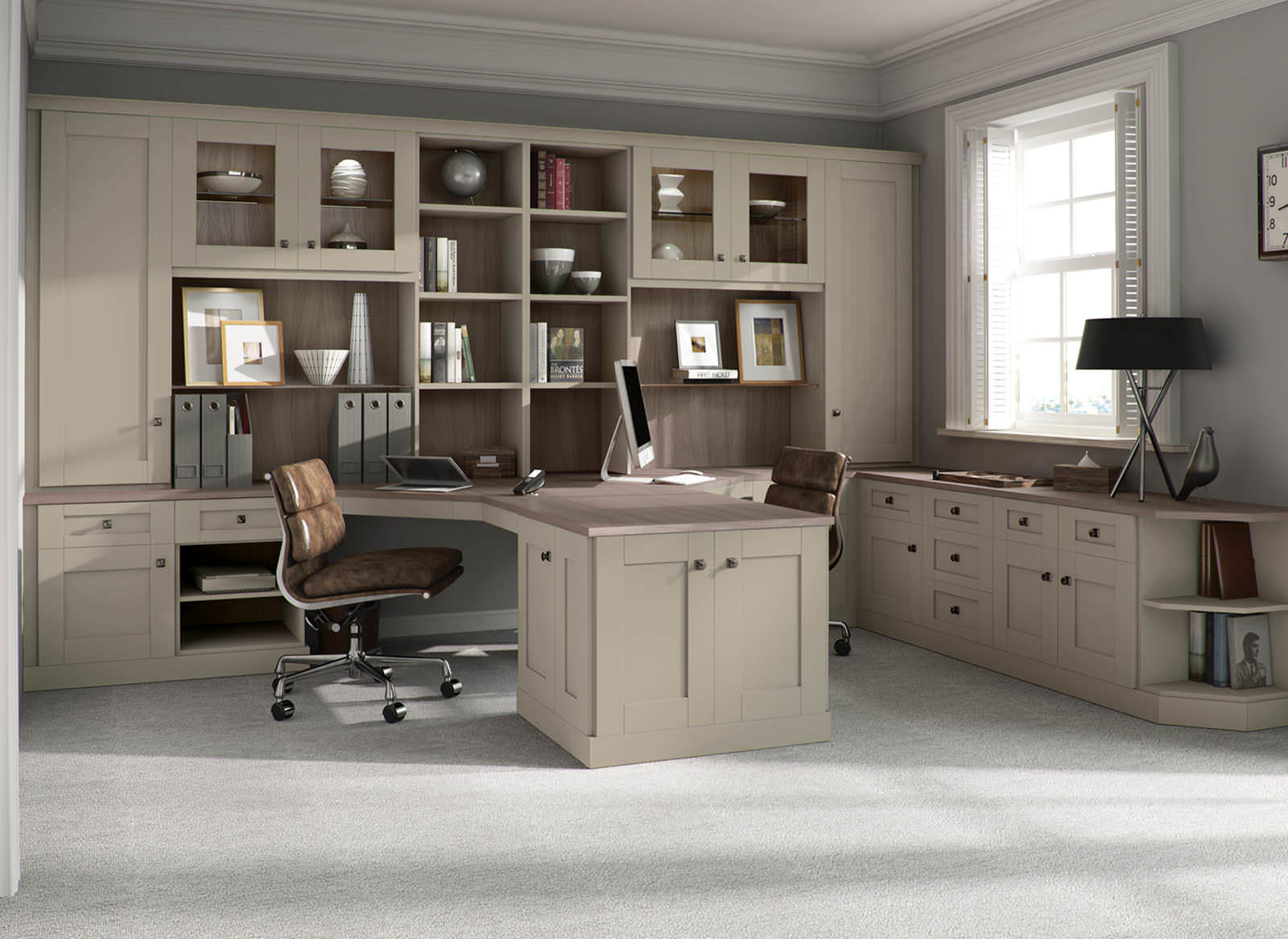 A dual-sided fitted home office desk with shelving units