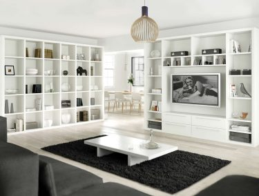 Fitted bookshelves in pure white