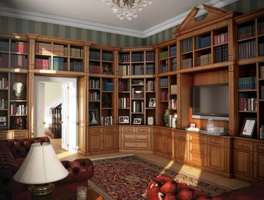 Fitted private library in a dark oak