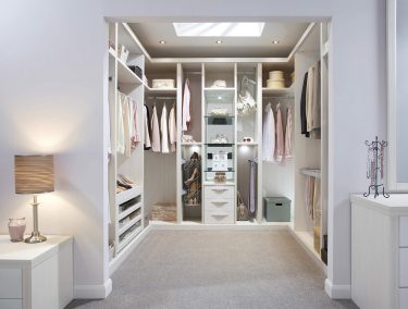 Bespoke white walk in wardrobe