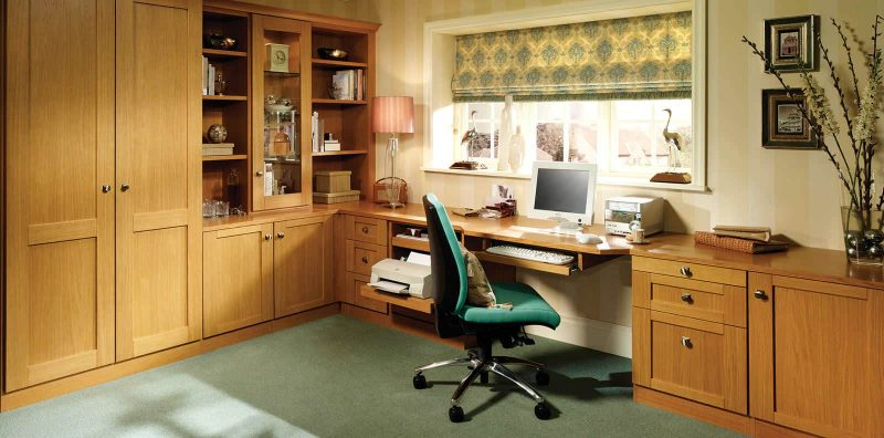 Fitted home office furniture in mountain oak