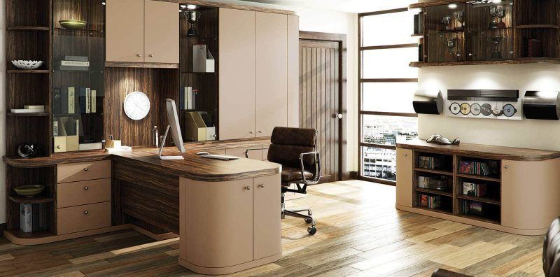 Fitted office in cappuccino and dark olive