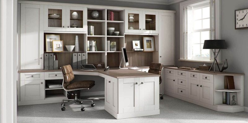 Fitted home office in pure white