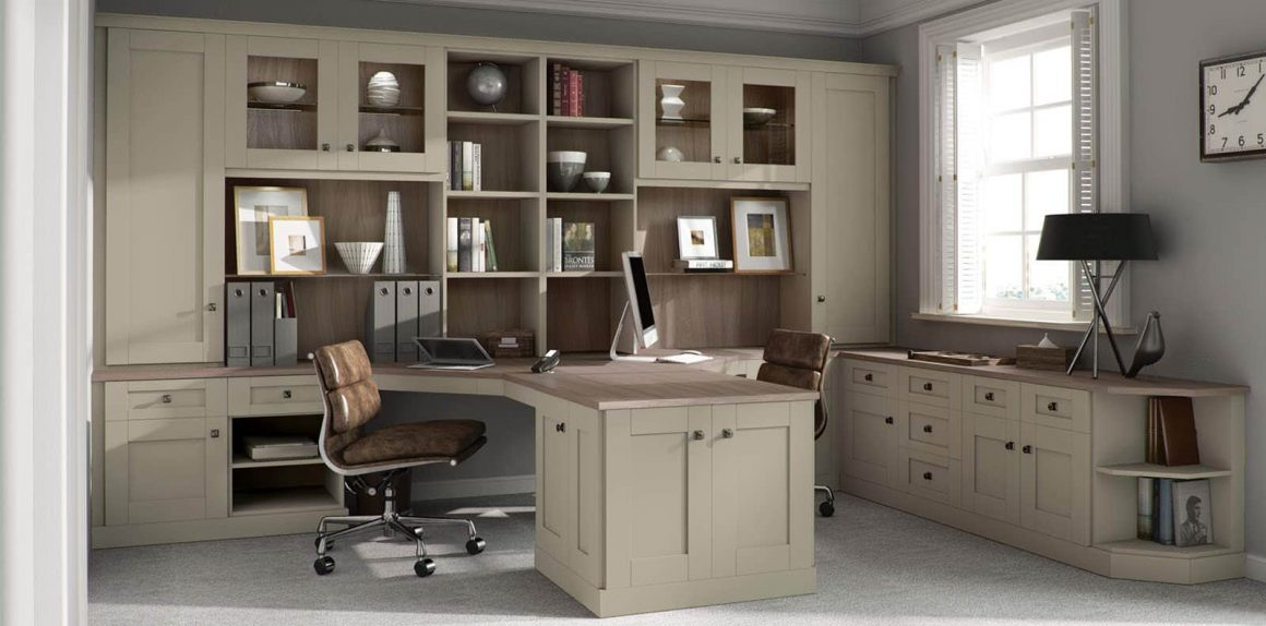 Home Office in sage green and driftwood finish