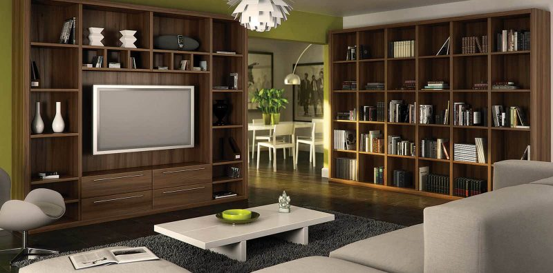 Fitted home library in walnut