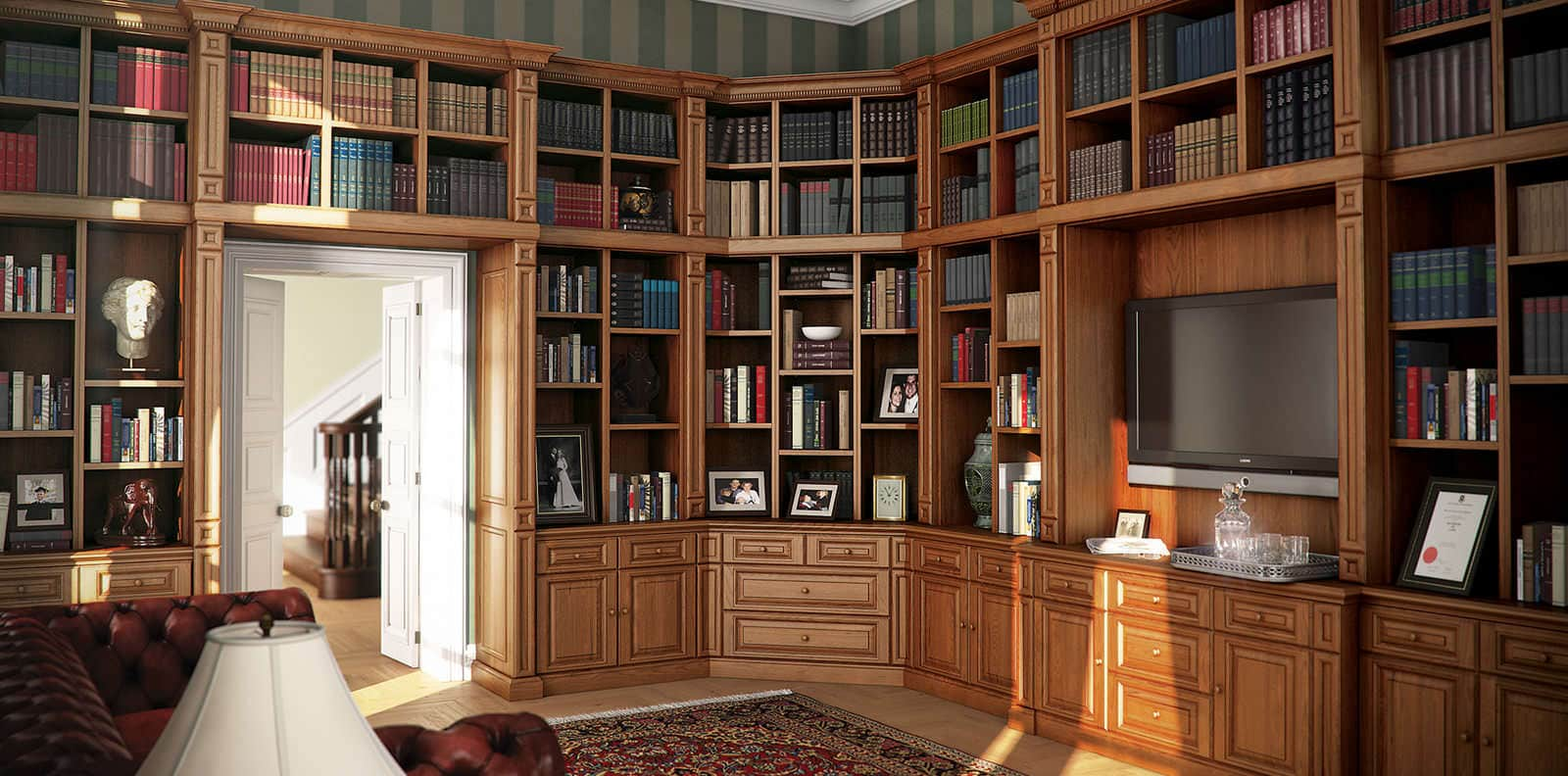 Shades of oak mellow traditional library by strachan Traditional home library design ideas