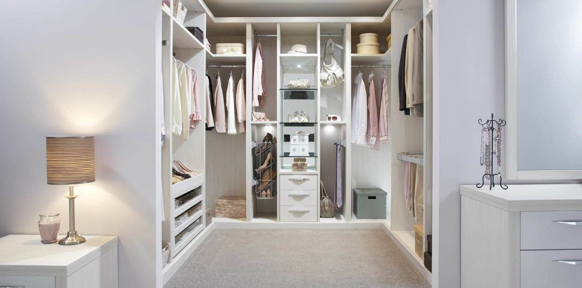 Bespoke white walk in wardrobe