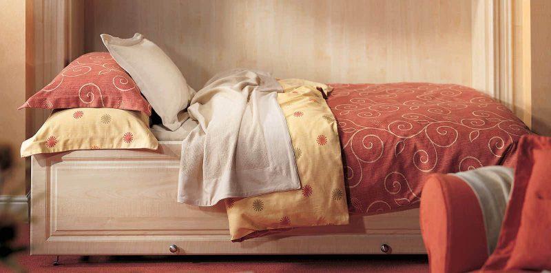 Side folding wall bed in maple