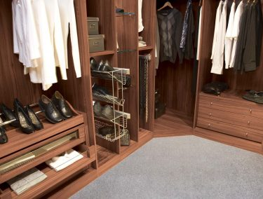 Fitted Walk in Wardrobe in Walnut