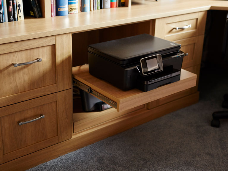 Bespoke home office desk with pull out printer shelf