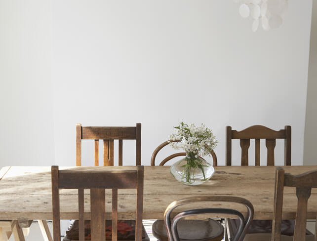 Shaker style chairs and wooden trestle table
