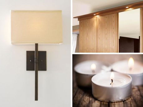 Plain sconce, tealights and fitted wardrobe with L.E.D. lights