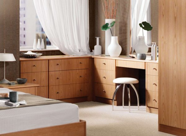 Bespoke dressing table and wardrobes in natural oak
