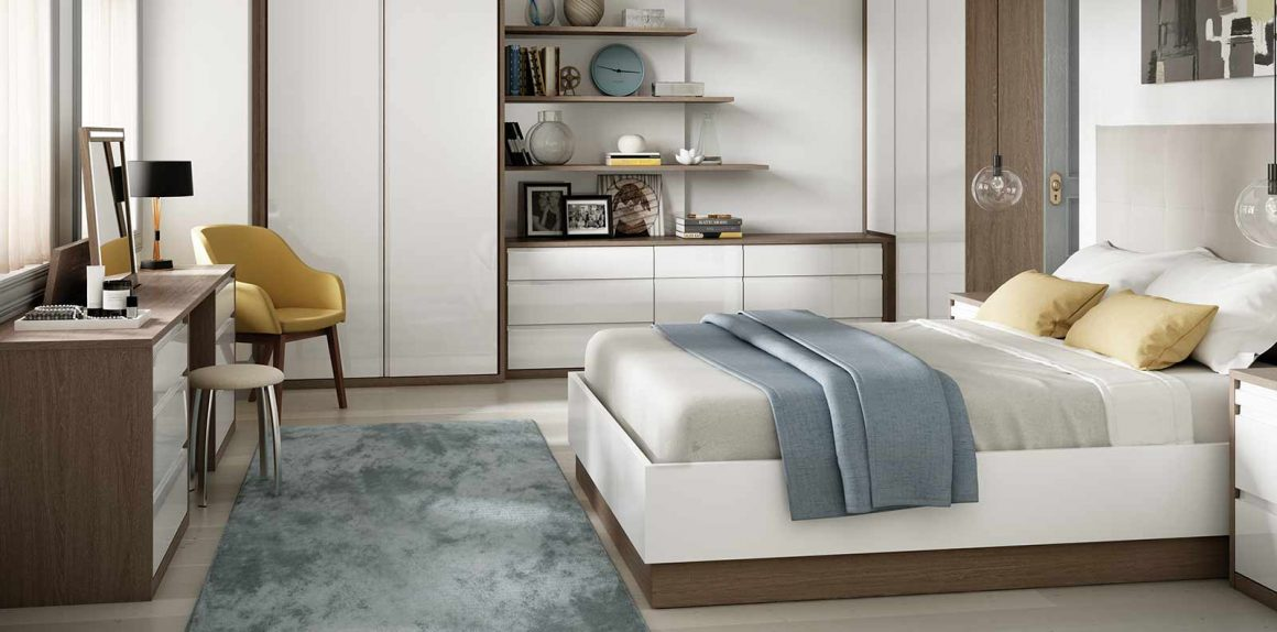 Solo Bedroom in High Gloss White and Tuscan Oak