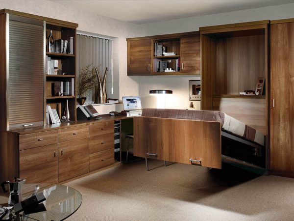 Bespoke study bedroom with half open bed