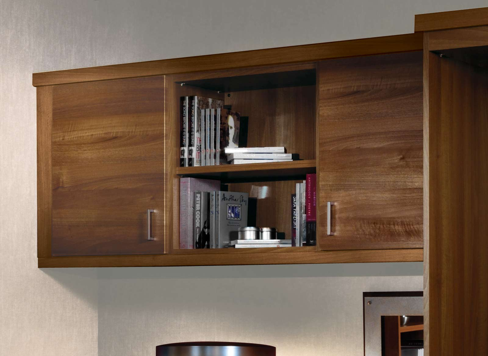 Walnut finished overhead storage cabinets in a home office