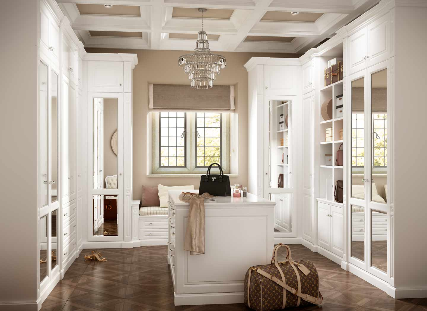 Traditional dressing room in New England Soft White
