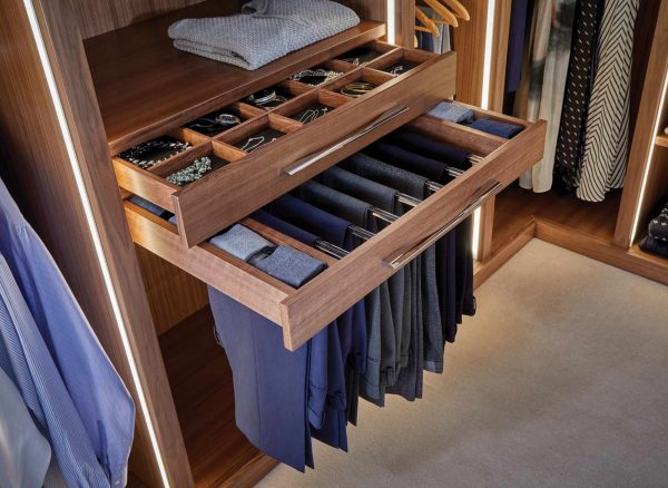 Fitted dressing room storage solutions