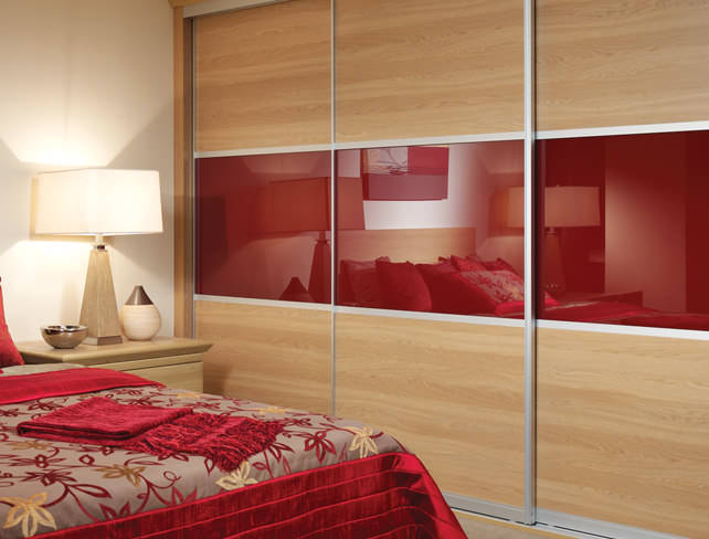 Decadent soft close sliding doors with red gloss panels