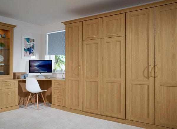 Verona wardrobes in an Oak finish with a concealed wall bed