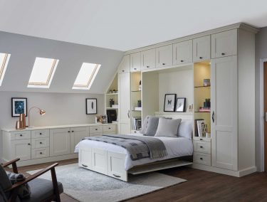 Classic fitted bedroom with wall bed in Alabaster white